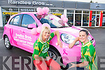 Pictured at the launch of Nissans Breast Cancer awareness campaign at Randles Nissan Killarney who are first dealership to have a pink Nissan Micra for the campaign, were Bernie Breen, captain of the Kerry ladies football team and Casandra Buckley, Kerry ladies team.  ....