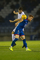 23rd November 2019; Caledonian Stadium, Inverness, Scotland; Scottish Championship Football, Inverness Caledonian Thistle versus Dundee Football Club; Jamie Ness of Dundee competes in the air with David Carson of Inverness Caledonian Thistle  - Editorial Use