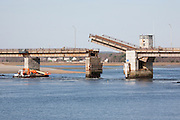 Draw bridge in the up position along Route 1A in Hampton,New Hampshire.