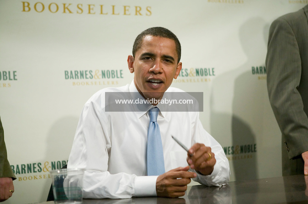 Democratic US Senator from Illinois Barack Obama jokes with the photographer during a book signing event at a Barnes &amp; Noble store in Manhattan, New York, USA, 19 October 2006. Obama is promoting his new book titled &quot;The Audacity of Hope: Thoughts on Reclaiming the American Dream&quot;.<br />