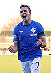 Andy Little scores the second goal for Rangers and celebrates