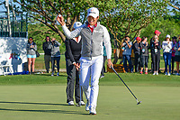 Haru Nomura (JPN) is elated after sinking her putt on 18 during a playoff hole with Cristie Kerr (USA) during round 4 of  the Volunteers of America Texas Shootout Presented by JTBC, at the Las Colinas Country Club in Irving, Texas, USA. 4/30/2017.<br /> Picture: Golffile | Ken Murray<br /> <br /> <br /> All photo usage must carry mandatory copyright credit (&copy; Golffile | Ken Murray)