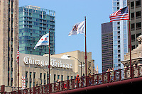 Looking up from the river walk below the Michigan Ave Bridge at the Chicago Tribune sign