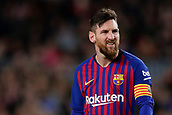 2nd February 2019, Camp Nou, Barcelona, Spain; La Liga football, Barcelona versus Valencia; Lionel Messi of FC Barcelona frustrated after missing the crossed ball in the box
