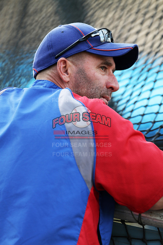 Chicago Cubs Manager Dale Sveum #33 before a game against the Los Angeles Dodgers at Dodger Stadium on August 3, 2012 in Los Angeles, California. Los Angeles defeated Chicago 6-1. (Larry Goren/Four Seam Images)