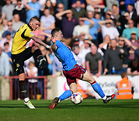 Scunthorpe United's Sam Mantom blocks a shot from Bolton Wanderers' Dean Moxey<br /> <br /> Photographer Chris Vaughan/CameraSport<br /> <br /> The EFL Sky Bet League One - Scunthorpe United v Bolton Wanderers - Saturday 8th April 2017 - Glanford Park - Scunthorpe<br /> <br /> World Copyright &copy; 2017 CameraSport. All rights reserved. 43 Linden Ave. Countesthorpe. Leicester. England. LE8 5PG - Tel: +44 (0) 116 277 4147 - admin@camerasport.com - www.camerasport.com