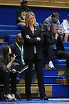 20 March 2015: Albany head coach Katie Abrahamson-Henderson. The Duke University Blue Devils hosted the University at Albany Great Danes at Cameron Indoor Stadium in Durham, North Carolina in a 2014-15 NCAA Division I Women's Basketball Tournament first round game.