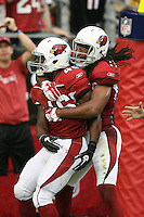 10/23/11 Glendale, AZ: Arizona Cardinals running back Alfonso Smith #46 and wide receiver Larry Fitzgerald #11 during an NFL game played at University of Phoenix Stadium between the Arizona Cardinals and the Pittsburgh Steelers. The Steelers defeated the Cardinals 32-20.