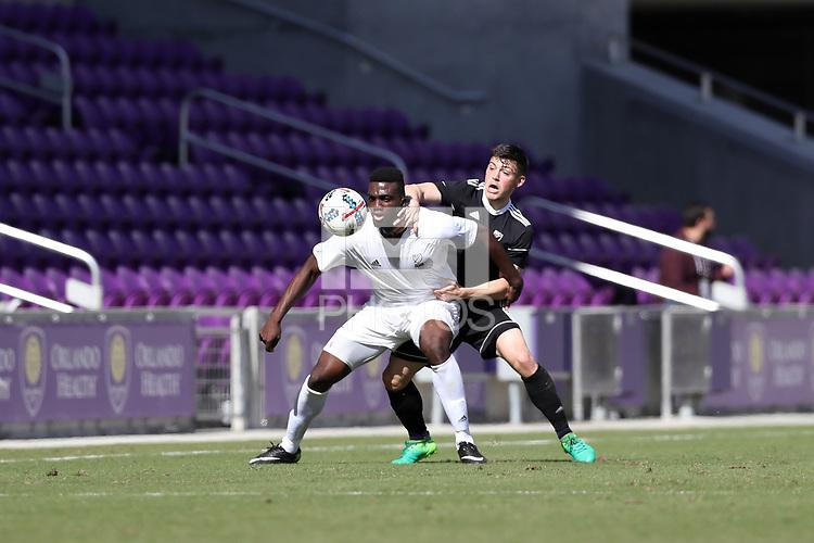 Orlando, Florida - Monday January 15, 2018: Frandtzy Pierrot and Lucas Stauffer. Match Day 2 of the 2018 adidas MLS Player Combine was held Orlando City Stadium.