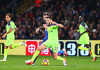 Adam Lallana of liverpool wins the ball from Joe Ledley of Crystal Palace during the EPL - Premier League match between Crystal Palace and Liverpool at Selhurst Park, London, England on 29 October 2016. Photo by Steve McCarthy.