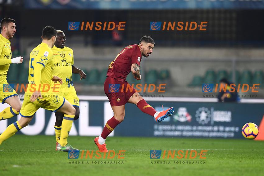 Aleksandar Kolarov of AS Roma scores goal of 0-3 <br /> Verona 8-2-2019 Stadio Bentegodi Football Serie A 2018/2019 Chievo Verona - AS Roma <br /> Foto Image Sport / Insidefoto
