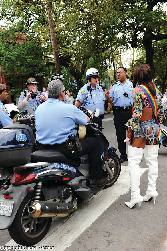 Transgender woman talks to police at Gay Easter Parade, 2013