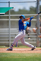 GCL Mets left fielder Cristopher Pujols (72) follows through on a swing during a game against the GCL Cardinals on August 6, 2018 at Roger Dean Chevrolet Stadium in Jupiter, Florida.  GCL Cardinals defeated GCL Mets 6-3.  (Mike Janes/Four Seam Images)