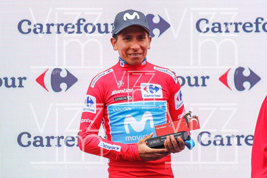ESPAÑA, 01-09-2019: Nairo Quintana (COL - MOVISTAR) celebra con maillot rojo líder después de la etapa 9, hoy, 01 de septiembre de 2019, que se corrió entre Andorra la Vella y Cortals d'Encamp con una distancia de 94,4 km como parte de La Vuelta a España 2019 que se disputa entre el 24/08 y el 15/09/2019 en territorio español. / Nairo Quintana (COL - MOVISTAR) celebrates with the red leader jersey after the stage 9 today, September 01, 2019, from Andorra la Vella to Cortals d'Encamp with a distance of 94,4 km as part of Tour of Spain 2019 which takes place between 08/24 and 09/15/2019 in Spain.  Photo: VizzorImage / Luis Angel Gomez / ASO<br /> VizzorImage PROVIDES THE ACCESS TO THIS PHOTOGRAPH ONLY AS A PRESS AND EDITORIAL SERVICE AND NOT IS THE OWNER OF COPYRIGHT; ANOTHER USE HAVE ADDITIONAL PERMITS AND IS  REPONSABILITY OF THE END USER