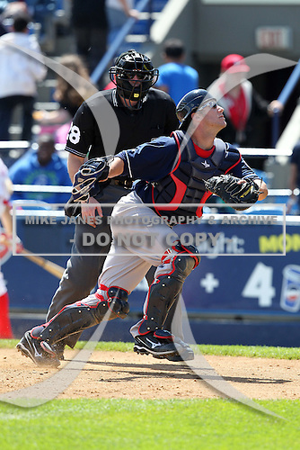 New Hampshire Fisher Cats catcher Yan Gomes #8 during a game against the Reading Phillies at FirstEnergy Stadium on May 5, 2011 in Reading, Pennsylvania.  New Hampshire defeated Reading by the score of 10-5.  Photo By Mike Janes/Four Seam Images
