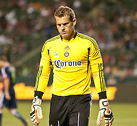 CARSON, CA – APRIL 30, 2011: Chivas USA goalie Dan Kennedy (1) during the match between Chivas USA and New England Revolution at the Home Depot Center, April 30, 2011 in Carson, California. Final score Chivas USA 3, New England Revolution 0.
