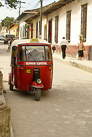 Tuk tuk on a street in the Spanish colonial town of Gracias, Lempira, Honduras...