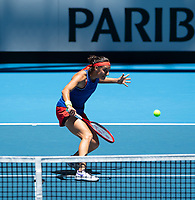 8th November 2019; RAC Arena, Perth, Western Australia, Australia; Fed Cup by BNP Paribas Final Tennis, Australia versus France, Practice Day; Caroline Garcia of France plays a backhand volley at the net during practise - Editorial Use