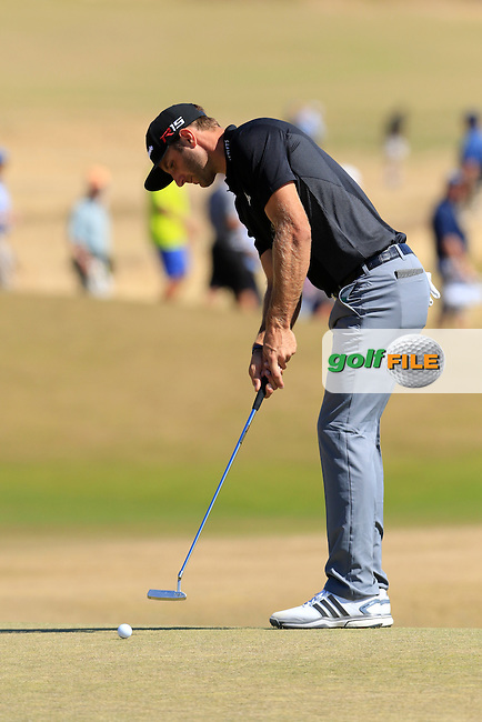 Dustin JOHNSON (USA) takes his putt at the 5th green during Friday's Round 2 of the 2015 U.S. Open 115th National Championship held at Chambers Bay, Seattle, Washington, USA. 6/19/2015.<br /> Picture: Golffile | Eoin Clarke<br /> <br /> <br /> <br /> <br /> All photo usage must carry mandatory copyright credit (&copy; Golffile | Eoin Clarke)
