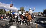 Congressman Dean Heller rides in the Nevada Day parade with his wife Lynne, left, and their daughter Emmy on Saturday, Oct. 30, 2010, in Carson City, Nev. .Photo by Cathleen Allison