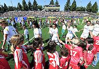 Marta and the LA Sol walk into the stadium,.LA Sol 2-0, over FC Gold, Sunday, May 24, 2009, at Buck Shaw Stadium, in Santa Clara, California.