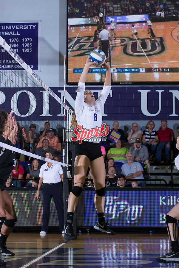 Gabi Mirand (8) of the High Point Panthers sets the ball during the match against the Wake Forest Demon Deacons at the Panther Invitational at the Millis Athletic Center on September 12, 2015 in High Point, North Carolina.  The Demon Deacons defeated the Panthers 3-1.   (Brian Westerholt/Sports On Film)