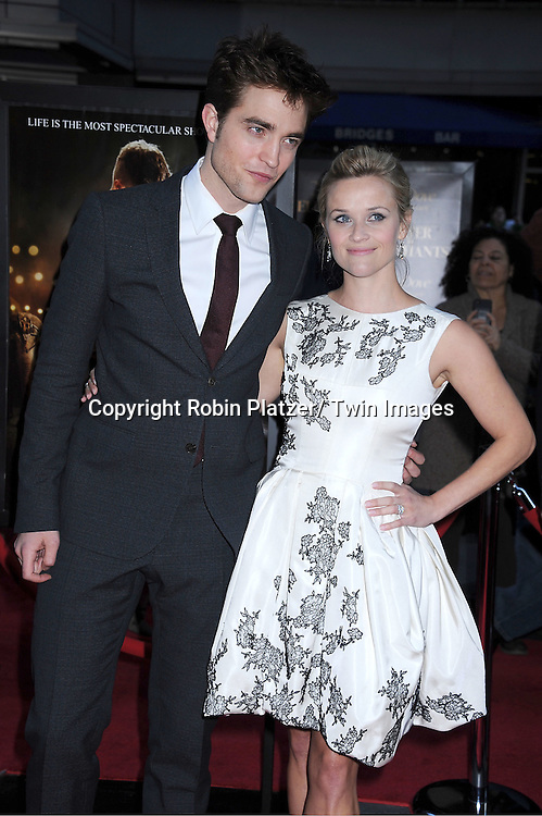 "Robert Pattinson and Reese Witherspoon attending The Premiere of ""Water For Elephants"" on    April 17, 2011 at The Ziegfeld Theatre in New York City. The stars of the movie are Reese Witherspoon, Robert Pattinson, Christoph Waltz and Hall Holbrook."