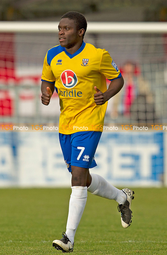 Moses Ademola of Eastleigh gives the thumbs up following his opening strike  - Chelmsford City vs Eastleigh - Blue Square Conference Football at Melbourne Park, Chelmsford, Essex - 13/10/12 - MANDATORY CREDIT: Ray Lawrence/TGSPHOTO - Self billing applies where appropriate - 0845 094 6026 - contact@tgsphoto.co.uk - NO UNPAID USE.