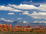 This view across the desert, shows the La Sal mountains, which are the second tallest range of mountains in Eastern Utah. The tallest of the six 12,000'+ peaks in the range is Mount Peale at 12,721 feet.