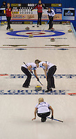 Glasgow. SCOTLAND.  Scotland's, Anna SLOAN,  watch's her &quot;Stone&quot;, as team mates left, Vicki ADAMS and right, Lauren GRAY, sweep, during a &quot;Round Robin&quot; Game. Le Gruy&egrave;re European Curling Championships. 2016 Venue, Braehead  Scotland<br /> Tuesday  22/11/2016<br /> <br /> [Mandatory Credit; Peter Spurrier/Intersport-images]