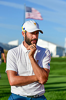 Adam Hadwin (CAN) looks on at 15 during round 1 foursomes of the 2017 President's Cup, Liberty National Golf Club, Jersey City, New Jersey, USA. 9/28/2017.<br /> Picture: Golffile | Ken Murray<br /> ll photo usage must carry mandatory copyright credit (&copy; Golffile | Ken Murray)