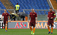 From left, Roma&rsquo;s Kostas Manolas, Radja Nainggolan and Daniele De Rossi react after Napoli&rsquo;s Dries Mertens, not seen, scored his second goal during the Italian Serie A football match between Roma and Napoli at Rome's Olympic stadium, 4 March 2017. Napoli won 2-1.<br /> UPDATE IMAGES PRESS/Riccardo De Luca