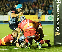 Cardiff Blues' Alex Cuthbert scores his sides third try<br /> <br /> Photographer Simon King/CameraSport<br /> <br /> Guinness Pro14 Round 6 - Cardiff Blues v Dragons - Friday 6th October 2017 - Cardiff Arms Park - Cardiff<br /> <br /> World Copyright &copy; 2017 CameraSport. All rights reserved. 43 Linden Ave. Countesthorpe. Leicester. England. LE8 5PG - Tel: +44 (0) 116 277 4147 - admin@camerasport.com - www.camerasport.co