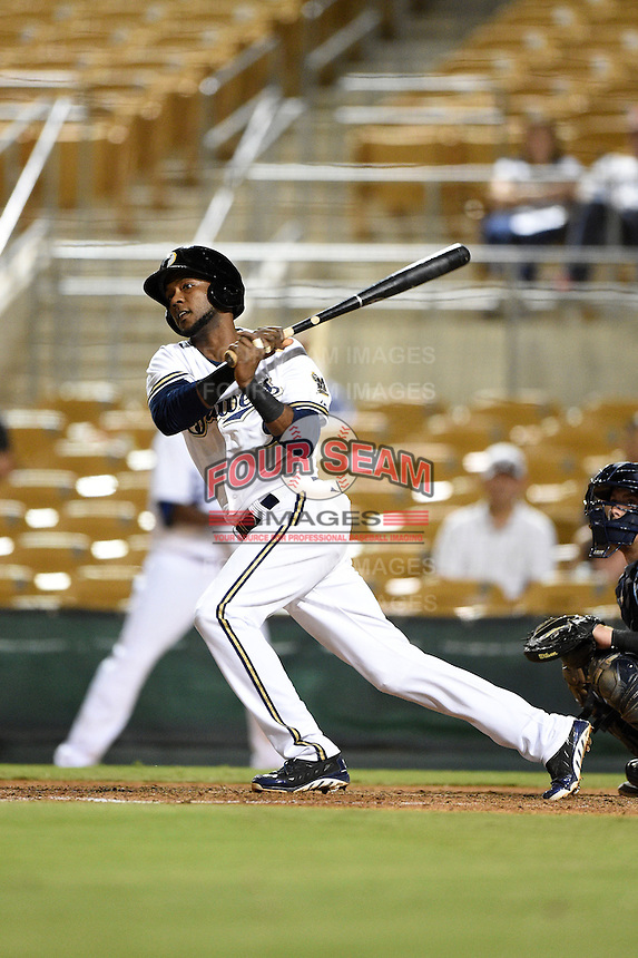 Glendale Desert Dogs infielder Hector Gomez (9) during an Arizona Fall League game against the Peoria Javelinas on October 13, 2014 at Camelback Ranch in Phoenix, Arizona.  The game ended in a tie, 2-2.  (Mike Janes/Four Seam Images)