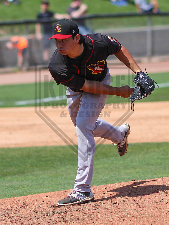 APPLETON - May 2015: Quad Cities River Bandits pitcher Kevin Comer (19) during a game against the Wisconsin Timber Rattlers on May 2nd, 2015 at Fox Cities Stadium in Appleton, Wisconsin.  Quad Cities defeated Wisconsin 5-2.  (Brad Krause/Four Seam Images)