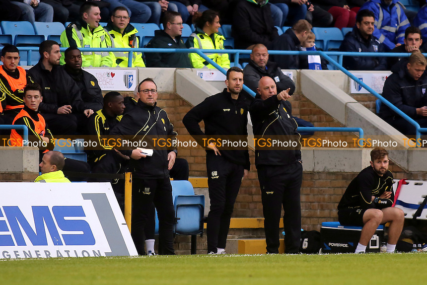 The Burton dug out missing new manager, Nigel Clough, who was attending a media commitment elsewhere. Andy Garner makes a point to Gavin Ward during Gillingham vs Burton Albion, Sky Bet League 1 Football at the MEMS Priestfield Stadium, Gillingham, England on 12/12/2015