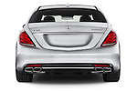 Straight rear view of a 2014 Mercedes Benz S-Class S63 AMG 4 Door Sedan Rear View  stock images