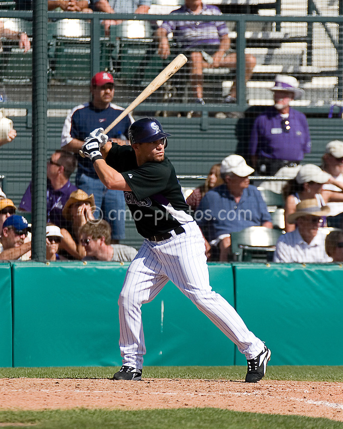 Mar 23, 2008; Tucson, AZ, USA; Colorado Rockies second baseman Marcus Giles (22) in the bottom of the 8th inning of a game against the Los Angeles Dodgers at Hi Corbett Field. The Rockies beat the Dodgers 8-2.