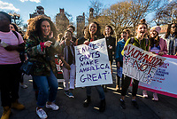 "New York, USA 8 March 2017 - Women marked International Women's Day - A Day Without a Woman, with a rally in Washington Square Park followed by a march. Many women wore red and took the day off as a general strike. Women activists dance to ""Girls Just Want to Have Fundamental Rights. ©Stacy Walsh Rosenstock/Alamy"
