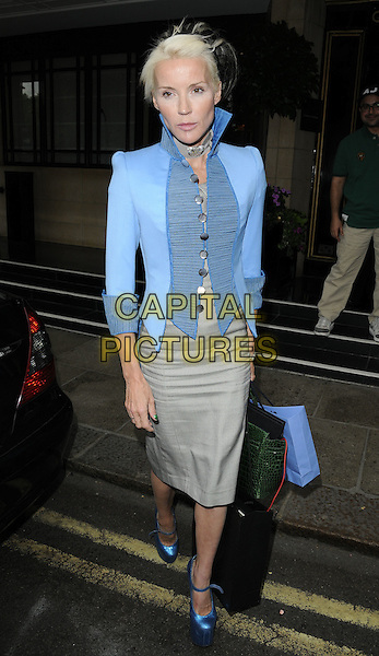 DAPHNE GUINNESS .At The Dorchester Collection Fashion Prize shortlist announcement, The Dorchester hotel, London, England, UK, July 12th 2010..full length blue jacket high collar shoes platform mary janes bags grey gray beige pencil skirt  wedges.CAP/CAN.©Can Nguyen/Capital Pictures.