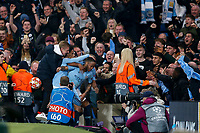 Raheem Sterling of Manchester City celebrates after scoring in stoppage time before his goal was disallowed by VAR during the UEFA Champions League Quarter Final second leg match between Manchester City and Tottenham Hotspur at the Etihad Stadium on April 17th 2019 in Manchester, England. (Photo by Daniel Chesterton/phcimages.com)<br /> Foto PHC/Insidefoto <br /> ITALY ONLY