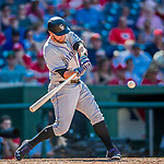 30 July 2017: Colorado Rockies first baseman Mark Reynolds in a 9th inning at bat against the Washington Nationals at Nationals Park in Washington, DC. The Rockies defeated the Nationals 10-6 in the second game of their 3-game weekend series. Mandatory Credit: Ed Wolfstein Photo *** RAW (NEF) Image File Available ***