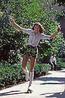 Brooke Shields Roller Skating with Ice Cream Cone, Central Park, New York City, 1979.