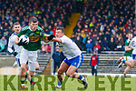 Kevin McCarthy  Kerry in action against Ryan Wylie Monaghan during the Allianz Football League Division 1 Round 5 match between Kerry and Monaghan at Fitzgerald Stadium in Killarney, on Sunday.