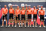 CCC Team at sign on before the start of the world's oldest classic the 100th edition of Milano-Torino running 179km from Magenta to the Basilica at Superga in Turin, Italy. 9th Octobre 2019. <br /> Picture: LaPresse | Cyclefile<br /> <br /> All photos usage must carry mandatory copyright credit (© Cyclefile | LaPresse)