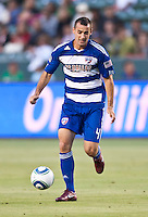 CARSON, CA – June 18, 2011: FC Dallas midfielder Andrew Jacobson (4) during the match between Chivas USA and FC Dallas at the Home Depot Center in Carson, California. Final score Chivas USA 1, FC Dallas 2.