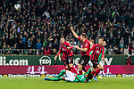 02.11.2019, wohninvest WESERSTADION, Bremen, GER, 1.FBL, Werder Bremen vs SC Freiburg<br /> <br /> DFL REGULATIONS PROHIBIT ANY USE OF PHOTOGRAPHS AS IMAGE SEQUENCES AND/OR QUASI-VIDEO.<br /> <br /> im Bild / picture shows<br /> Dominique Heintz (SC Freiburg #23), <br /> Theodor Gebre Selassie (Werder Bremen #23) am Boden, <br /> <br /> Foto © nordphoto / Ewert