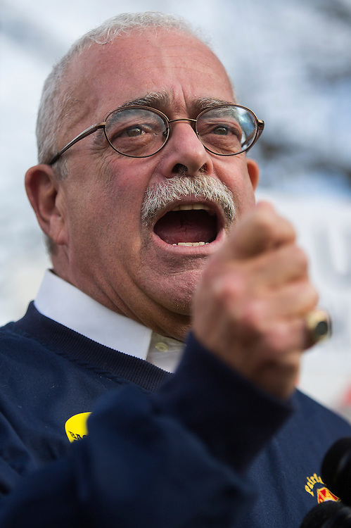 UNITED STATES - DECEMBER 14 - Rep. Gerry Connolly, D-Va., calls out the inefficiency on Capitol Hill during a protest on the third anniversary of the Sandy Hook shooting, in front of the National Rifle Association headquarters in Fairfax, Va., on Monday, December 14, 2015. (Photo By Al Drago/CQ Roll Call)