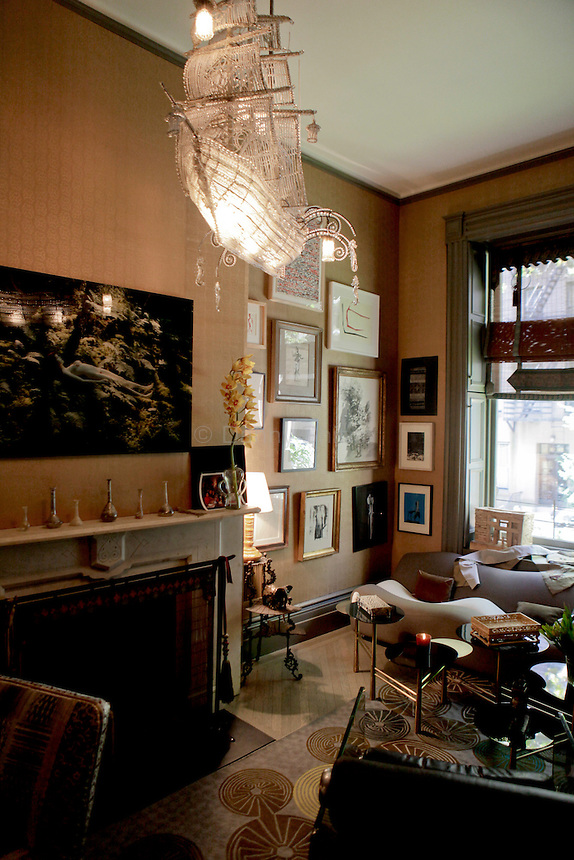 Interior designer Muriel Brandolini wearing her diamond earrings by James de Givenchy at her home on the upper east side of Manhattan on Friday September 16, 2011.