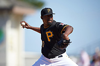 Pittsburgh Pirates relief pitcher Arquimedes Caminero (37) delivers a pitch during a Spring Training game against the Boston Red Sox on March 9, 2016 at McKechnie Field in Bradenton, Florida.  Boston defeated Pittsburgh 6-2.  (Mike Janes/Four Seam Images)
